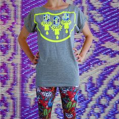 Items similar to Women's embellished T-SHIRT, organic cotton grey T-shirt with a bold fluoro yellow print and appliqué panels in a blue floral fabric. on Etsy Trending Outfits, Mens Tops, How To Wear, T Shirt, Etsy, Beauty, Vintage, Fashion, Supreme T Shirt