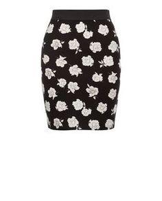 Teens Black Floral Contrast Waistband Skirt  | New Look
