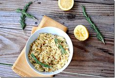 Orzo with Lemon and Rosemary - Eat Yourself Skinny - 1/2 cup = 3 pts+