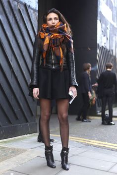 Orange and black scarf.