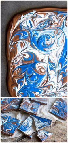Milk Chocolate Marbleized Bark