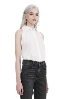 WASHED COTTON POPLIN SLEEVELESS BODYSUIT | TOP | Alexander Wang Official Site