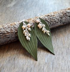 Earrings may-lily leaves, may-lily earrings, leather earrings, dangle earrings, lily of the valley earrings, boho earrings, leather earrings