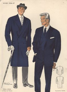 Man in Blue Suit, Vintage Fashion Print, 1956