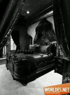 feel like a princess in a dark castle in this room. And I am okay with that.I'd feel like a princess in a dark castle in this room. And I am okay with that. Black Bedroom Furniture, Gothic Furniture, Bedroom Black, Goth Bedroom, Black Bedrooms, Neutral Bedrooms, Black Bedding, Bedroom Bed, Bed Room