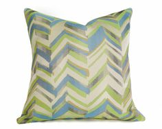 Blue Green Chevron Pillow Covers by PillowThrowDecor
