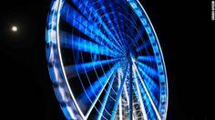 The Wheel of Brisbane in Brisbane, Australia, lights up blue