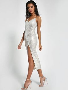 Buy Missguided Silver Strappy Sequin Midi Dress for Women Online in India Silver Midi Dress, Sequin Midi Dress, Bodycon Dress, Midi Dresses Online, Dress Online, Dance Stage, Missguided, Sequins, India