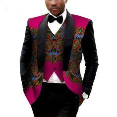 African Clothing for Men Printed Blazer Men Jacket+Vest Fashion Slim suits African Fashion Designers, African Men Fashion, Mens Fashion, Africa Fashion, African Styles For Men, Fashion Edgy, Mens Suit Vest, Mens Suits, Men Shirt