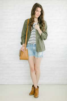utility jacket   jean shorts   ankle booties // Unfancy spring outfits