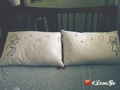 sweet embroidery on his/her pillows