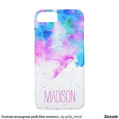 Custom monogram pink blue watercolor brushstrokes iPhone 7 case