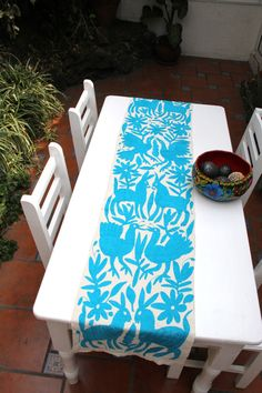 Gorgeous Turquoise Otomi Runner by CasaOtomi on Etsy, Mexico, Tenango, mexican wedding, textile, mexican suzani, suzani, embroidery, hand embroidered, otomi, www.casaotomi.com, otomi, table runner, fiber art, mexican, handmade, original, authetic, textile , mexico casa, mexican decor, mexican interior, frida, kahlo, mexican folk,  folk art, mexican house, mexican home, puebla collection, las flores, travel tote, boho, tote, handbag, purse, cushion, pillow, gift basket