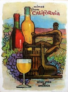 Wines From California, 1950s - original vintage poster listed on AntikBar.co.uk