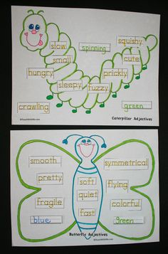 Great anchor charts to connect with The Very Hungry Caterpillar - butterfly and caterpillar adjectives