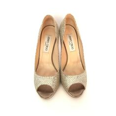 e630be47bef Gold   Silver Champagne Glitter Fabric Peep Toe Platforms
