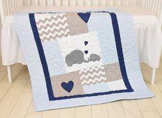 Elefanten Baby Decke blau grau Marine Quilt von Customquiltsbyeva