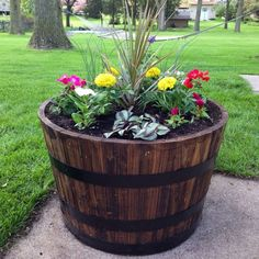 Beside a bench on the front porch add a rustic appeal to your garden with these WOOD apple Wine whiskey Barrel garden patio planter plant flower pots. Many barrel style planters and fountains to choose from gifte-mart Rustic Planters, Patio Planters, Fall Planters, Flower Planters, Flower Pots, Wood Barrel Planters, Decorative Planters, Planter Garden, Rustic Backyard
