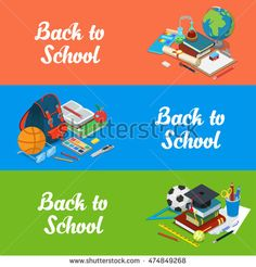 Isometric flat set of back to school website hero images vector illustration…
