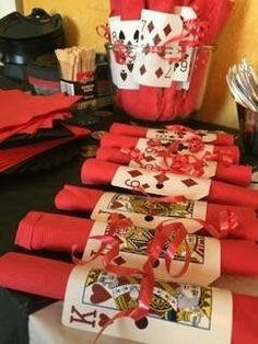 A perfect way to display your utensils for Las Vegas Casino themed pool party.
