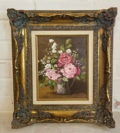 It's signed by the artist, Ina Linton, in the lower right. Antique Art, Antique Brass, Vintage Art, Vintage Antiques, Oil Painting Flowers, Sculpture, Painted Signs, Vintage Flowers, Impressionism