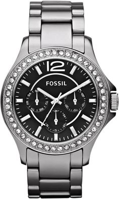 #Fossil #Watch , Women's Riley Multifunction Ceramic Watch Chrome CE1067