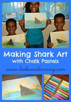 Making Shark Art with Chalk Pastels - Look! We're Learning!