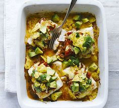 Top white fish with tomato salsa, avocado, tortilla chips and coriander for a quick midweek supper