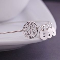 Personalized Tree of Life Bangle Bracelet  in Sterling Silver - You choose the number of Initial charms -  by georgiedesigns