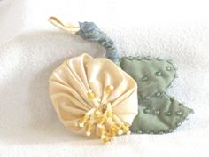 Yellow Silk Flower Pin  Handmade Flower Brooch  by nedaoriginals