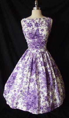 Chic 1950s Cotton Lavender Floral Garden Party Dress  ~ Varied Tones of Lavender & Plum