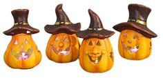 Kürbisse gehen auch außerhalb von Halloween als Deko: 4er Set LED Keramikkürbisse,