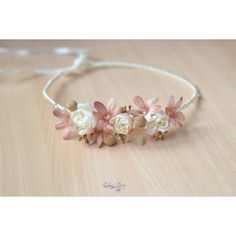 Wedding flower headband Boho Bridal floral crown Ivory beige wedding... ($30) ❤ liked on Polyvore featuring accessories, hair accessories, flower hair accessories, boho headbands, floral garland, flower garland headband and bridal headbands