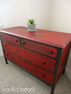 Miss Mustard Seed Tutorial - red dresser Red Distressed Furniture, Red Painted Furniture, Milk Paint Furniture, Reclaimed Furniture, Repurposed Furniture, Shabby Chic Furniture, Furniture Projects, Furniture Makeover, Diy Furniture