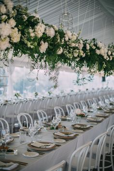 Wedding Reception / White Bentwood Chairs / Hanging Florals / Hampton Event Hire / Lucas & Co