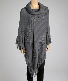 I LOVE THIS!!! It's a poncho, which I love, with a cowl neck, which I love!!! YEAH!! Take a look at this Gray Knit Cowl Neck Poncho by SR Fashions on #zulily today!