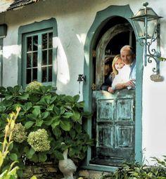 paint color, light, hydrangea & dutch door