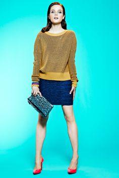 #MyImpulseIs Color!  Good as gold #bcbgeneration #sweater #skirt #macys BUY NOW!