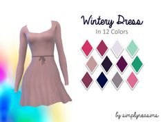 "Wintery Dress Recolors (Sims 4) ""★ 12 colors ★ original mesh by mysimlifefou (required) ★ please read my tou "" d o w n l o a d 