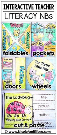 Interactive Notebook FREEBIE & fiction/nonfiction packs for Kindergarten, 1st & 2nd grade! (English & Spanish)