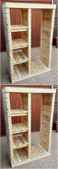 This image of the old shipping pallet shelving cabinet designing idea will make … - Pallet Projects Wooden Pallet Projects, Pallet Crafts, Diy Projects, Diy Crafts, Recycled Pallets, Wooden Pallets, Old Pallets, Pallet Wood, Pallet Furniture Plans
