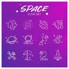 Galaxy and space icons set Premium Vecto.