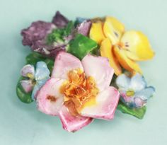 Vintage Bone China Floral Pin Brooch Coalport England via Etsy