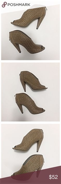 """Vince Camuto Tan Plunge Peep Toe Booties Gorgeous plunging top, peep toe booties in a versatile tan/camel color. The upper is a woven leather with back zipper. I love these booties, but the 4"""" cone heels are a little too high for me. In excellent condition! Vince Camuto Shoes Ankle Boots & Booties"""