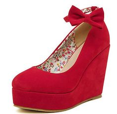 Women Buckle Bowtie Mary Jane High Platform Wedge Strappy Shoes Size 4.5/5/6/7/8