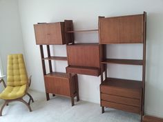 Mid Century Danish Wall Unit With Built In Desk