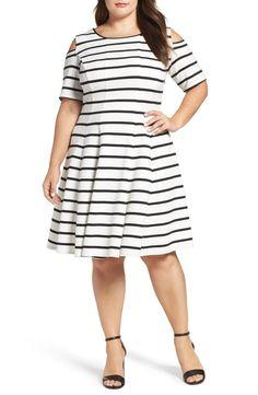 Julian Taylor Women S Plus Size Cold Shoulder Stripe Fit Flare Dress