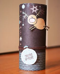 Such a cute little candle with that fun reindeer.. I love how she used a little twine with that tag to hold her sentiment. Perfect for Christmas Gifts  The Alley Way Stamps