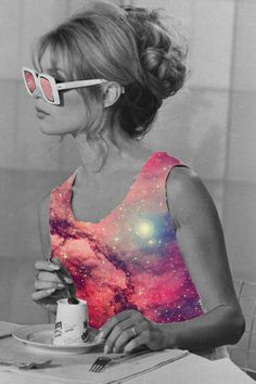vintage collage colourful woman
