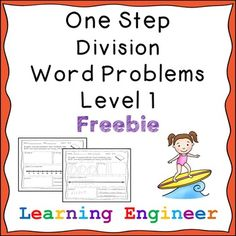 One Step Division Word Problem Level 1 Freebie - 3rd Grade Division, Math Division, Third Grade Math, Fourth Grade, Grade 2, Math Resources, Learning Activities, Classroom Resources, Classroom Ideas